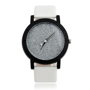 Watches-White-PU Leather Moon Hand Watch for a Woman's Vegan Lifestyle
