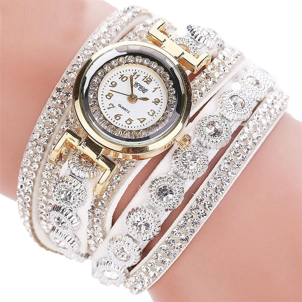 Watches-White-PU Leather Multi-layer Rhinestone Bracelet Wrist Watch by CCQ for a Woman's Vegan Lifestyle
