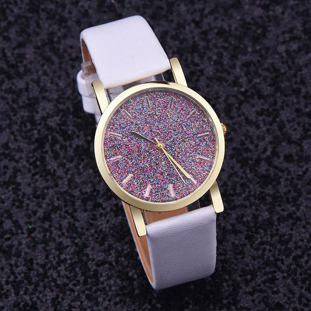 Watches-White-PU Leather Speckled Effect Rhinestone Watch for a Woman's Vegan Lifestyle