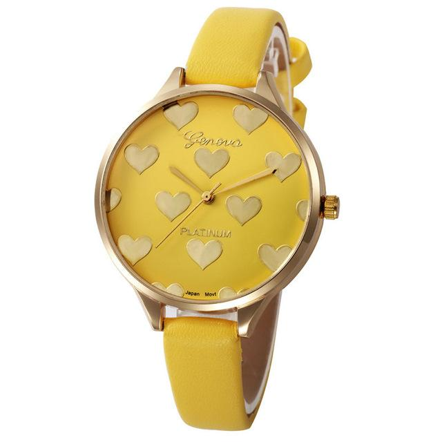 Watches-Yellow-PU Leather Heart Pattern Watch by Geneva for a Woman's Vegan Lifestyle