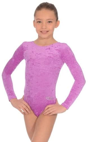 Long Sleeved-Crushed Velour Leotard Amethyst by Roch Valley Code:Z102RAM - Shopdance.co.uk