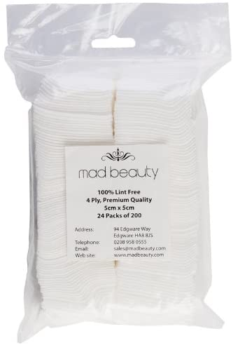 Lint Free Wipes 100%  Uv Gel Wipe Of Cleaner Mad Beauty X 200 - Shopdance.co.uk