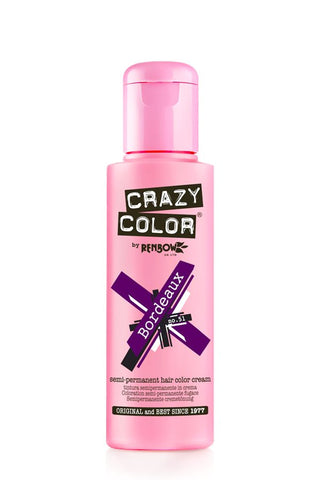 Crazy Colour Semi Permanent Hair Dye 100ml BORDEAUX - Shopdance.co.uk