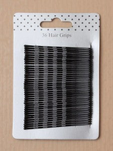 Card of 36 Hair Grips Black approx 55mm length - Shopdance.co.uk