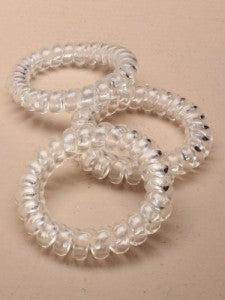 Hair Ties Clear telephone cord style large - Shopdance.co.uk