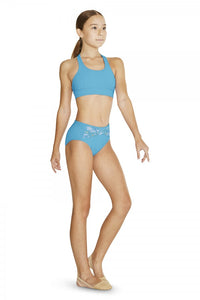 Floral High Waist Leg Dance Briefs by Bloch Code FR5118C Turquoise - Shopdance.co.uk