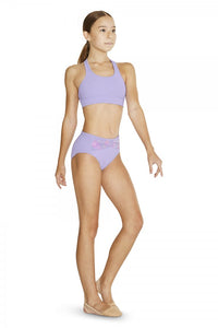 Girls Lilac High Waisted Briefs with Floral Mesh by Bloch Code: FR5118 Clearance - Shopdance.co.uk