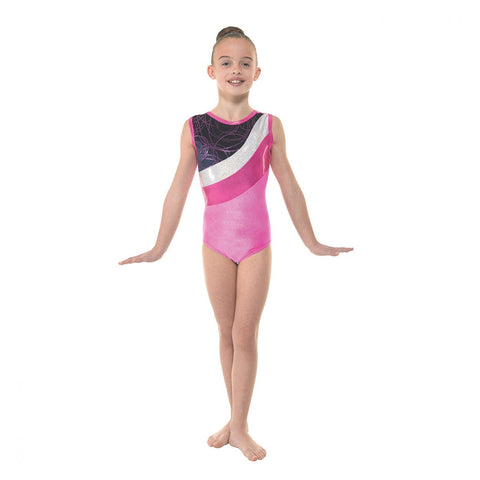 Electric Pink Sleeveless Gymnastics Leotard Velvet/Astro Silver Foil by Tappers and Pointers - Shopdance.co.uk