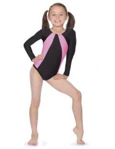 Roch Valley SKIP Two Tone Gymnastics Leotard - Black/Pink - Long Sleeve - Shopdance.co.uk