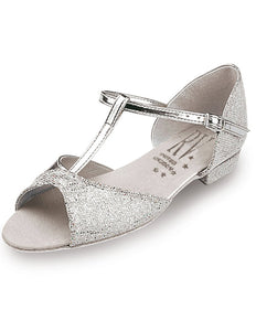 Girls Silver Ballroom Shoe - T Bar - Low Heel by Roch Valley Code: STACEY/S - Shopdance.co.uk