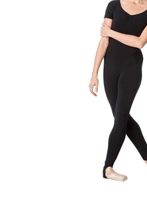 Girls Cap Sleeve Unitard complete with stirrup leggings Black by Arabesque Dancewear - Shopdance.co.uk
