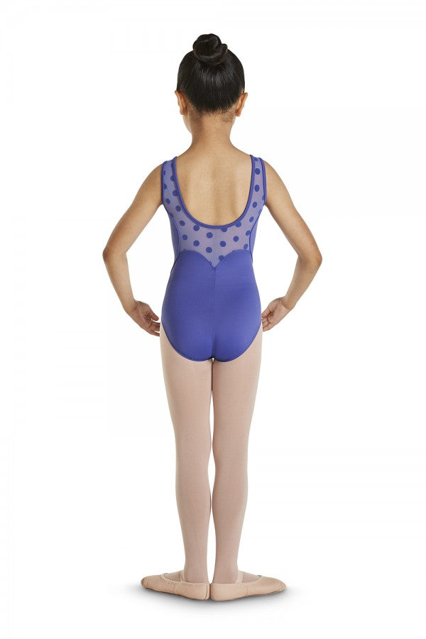 Girls Blue Polka Dot Mesh Tank Leotard by Bloch Code: M368C CLEARANCE - Shopdance.co.uk