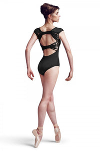 Ladies Black Cap Sleeve Leotard Twin Plait Back Bow Mirella by Bloch Code: MJ7178 - Shopdance.co.uk