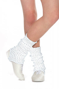 Girls-Women's Stirrup Ankle-Legwarmers 40cm in White/Silver - Shopdance.co.uk