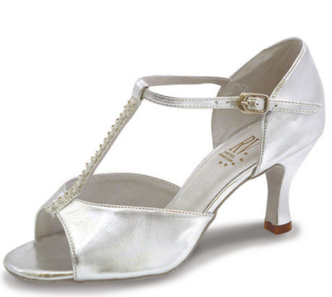 "Silver Ladies Ballroom - Latin Shoe with T-Bar - 2.75"" Slim flared heel by Roch Valley Code YANA - Shopdance.co.uk"