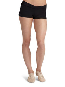 Girls-Women's Black V Front Cotton Lycra Black Dance Shorts by Capezio Code: CC600 Best Seller - Shopdance.co.uk