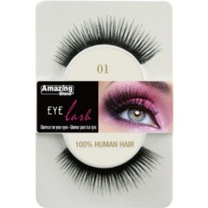 Amazing Shine Human Hair Eyelashes (01) BLACK - Shopdance.co.uk
