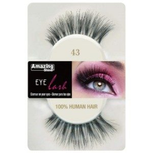 Amazing Shine Human Hair Eyelashes (43) BLACK - Shopdance.co.uk