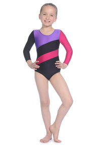 Roch Valley Childrens - Adults Long Sleeve Gymnastics Leotard (HOPPU) Black Pink and Purple - Shopdance.co.uk