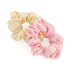 Two piece cream and pink elasticated scrunchie set.  HA33342 - Shopdance.co.uk