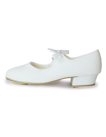 White Canvas Tap Shoes (Low Heel Girls) by Roch Valley Dancewear Code: LHCW - Shopdance.co.uk