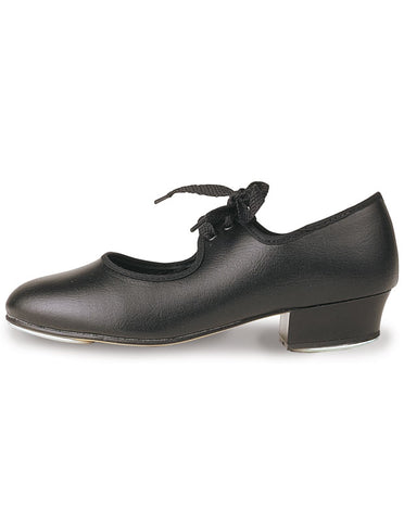 Girls Low Heel Beginners PU Tap Shoes - Black - by Roch Valley Dancewear - Code LHP - Shopdance.co.uk