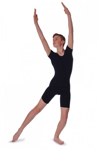 ROCH VALLEY Adam Short Sleeved Men's/Boys Cotton Leotard Black - Shopdance.co.uk