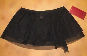 Black Ruched Mesh Dance Skirt with Split by Mirella from Bloch Code: MS29 CLEARANCE - Shopdance.co.uk