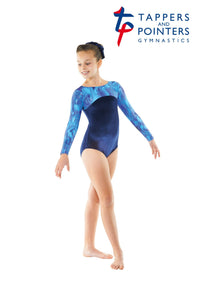 Girls Gymnastics Leotard Longsleeve Navy velvet/galazy Print - Tappers and Pointers - Shopdance.co.uk