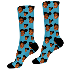 blue photo face socks