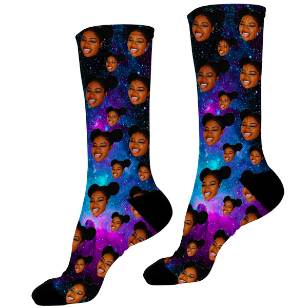 Galaxy Photo Face Socks