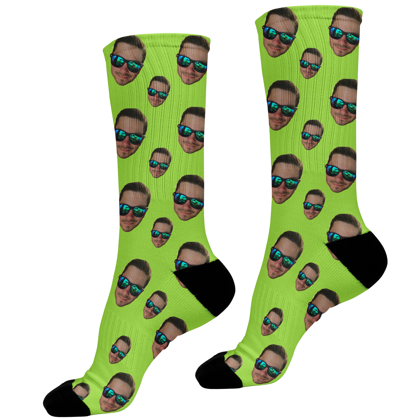 green photo face socks