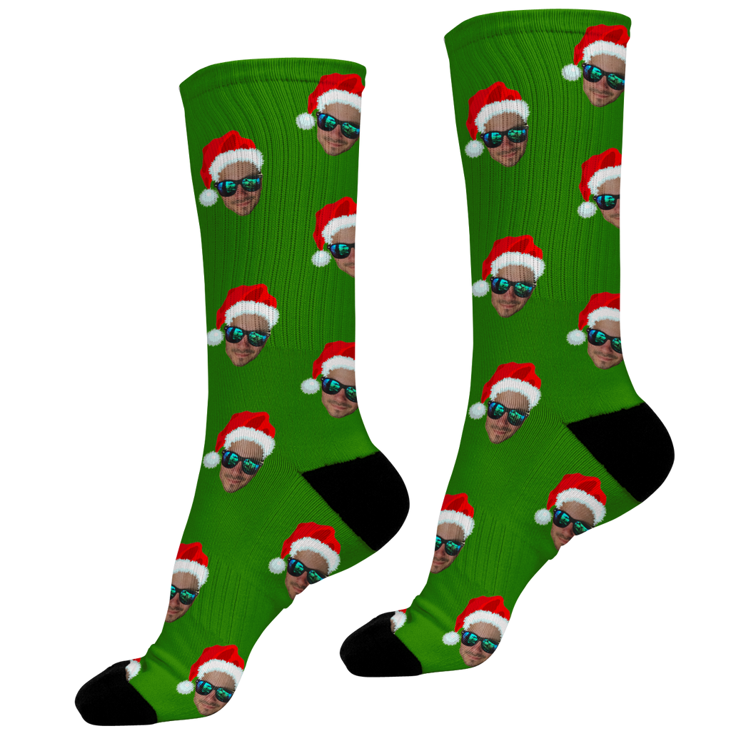 Santa Hat Green Face Socks