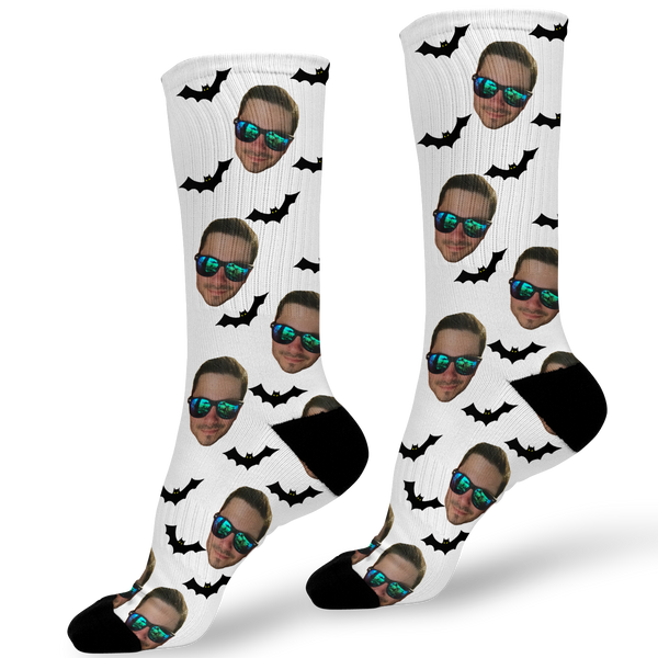 Halloween Photo Face Socks With Bats