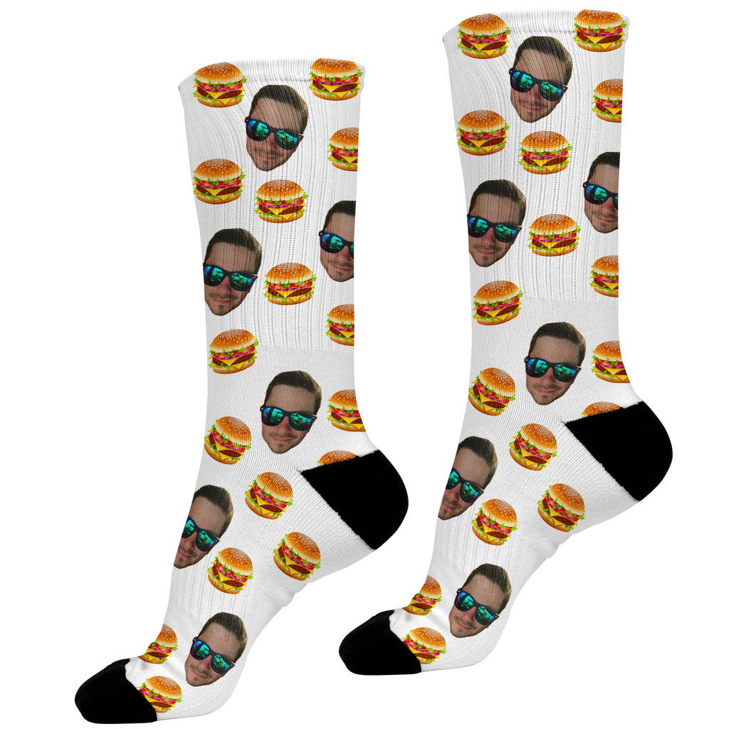 Hamburger Lovers Face Socks