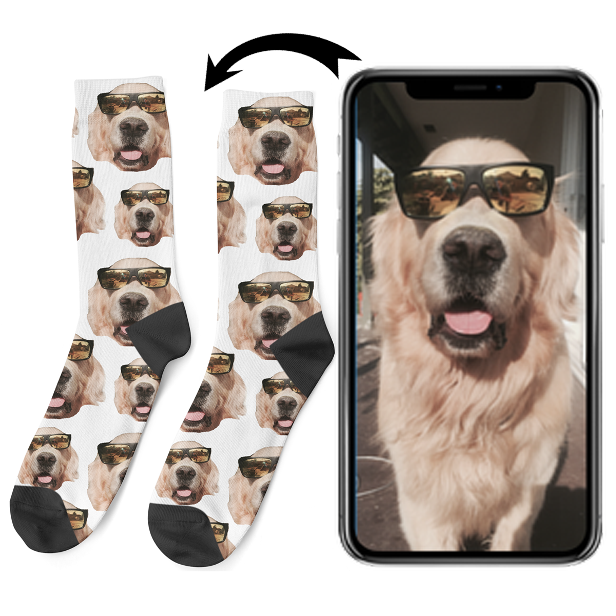 How to put your dogs face on socks from a photo