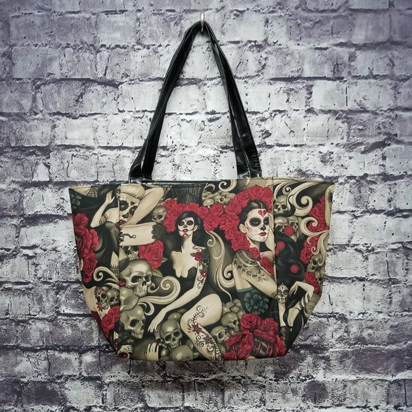 Top Notch Tote - Vintage Sugar Skull Pinups (Rose Crown)