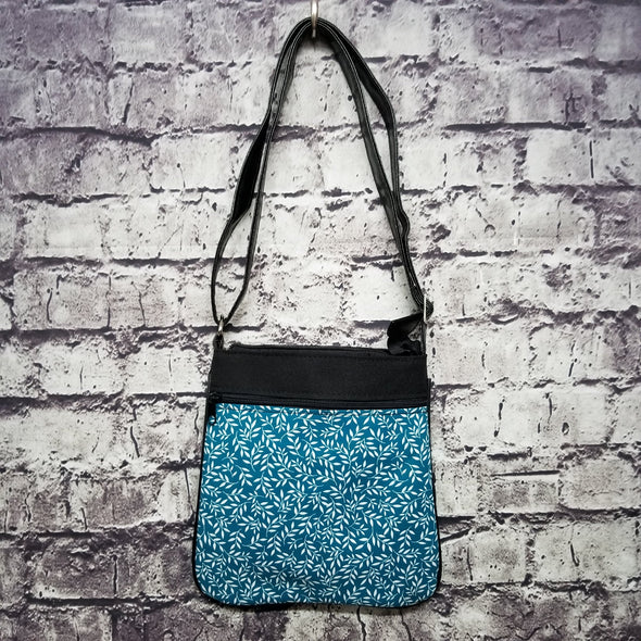 Crossbody - Teal Leaves