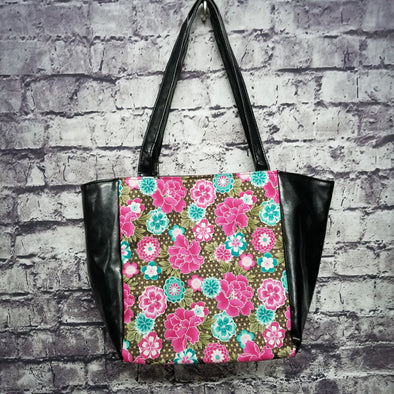 Top Notch Tote - Vinyl Fuschia & Teal Golden Flowers