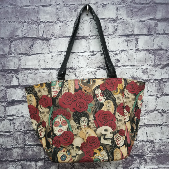 Top Notch Tote-Vintage Day of the Dead Pinup