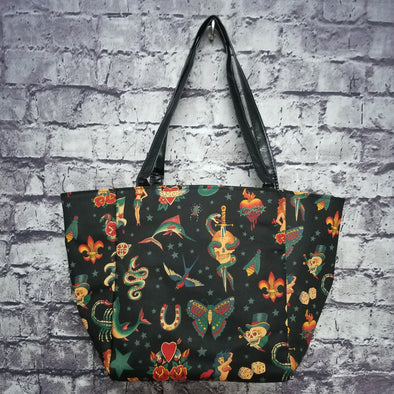 Top Notch Tote- Black Vintage Tattoo