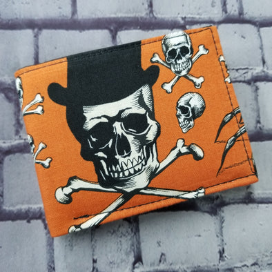 Not Just For Men (NJFM) Wallet - Orange Ouija- Top Hat Skull