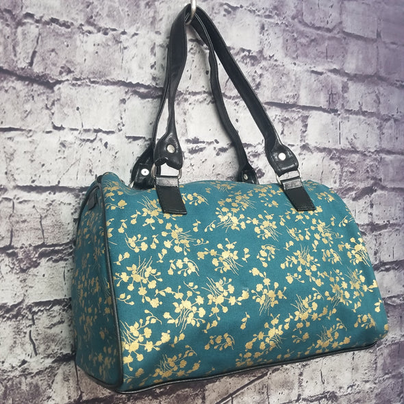 Dipity Bag - Teal and Gold Blossoms
