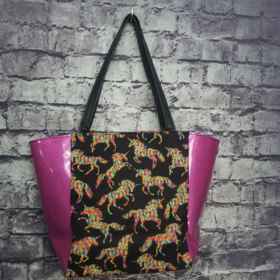 Top Notch Tote-  Vinyl Geometric Unicorn