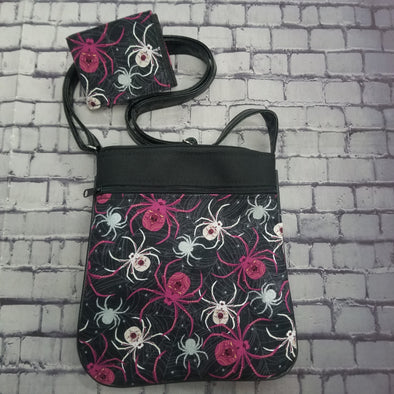 Crossbody & NJFM- Fuchsia Spiders