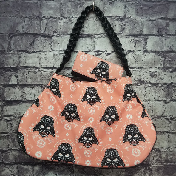 Twisted Tote & Wallet- Peach Sugarskull Darth Vader