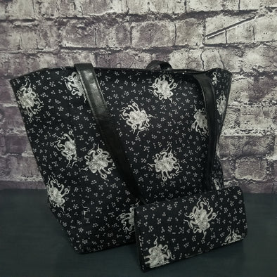 Top Notch Tote & Wallet- Black&White Octopus