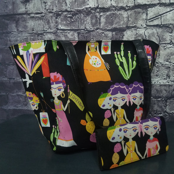 Top Notch Tote & Wallet- Cartoon Frida