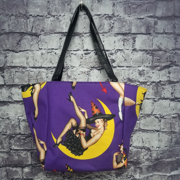 Top Notch Tote - Purple Halloween Pinups