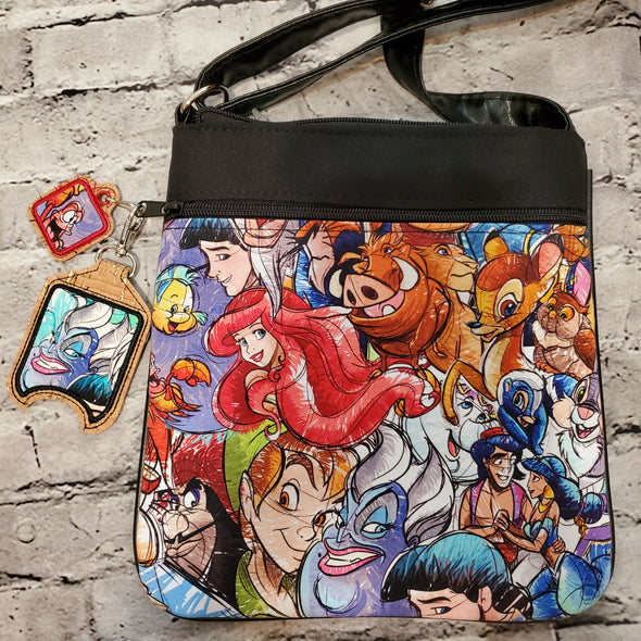 Crossbody & Hand Sanitizer Holder & Zipper pull- Disney Sketch